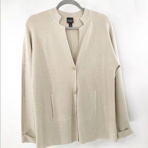 Eileen Fisher Silk Blend Interlock Jacket Large